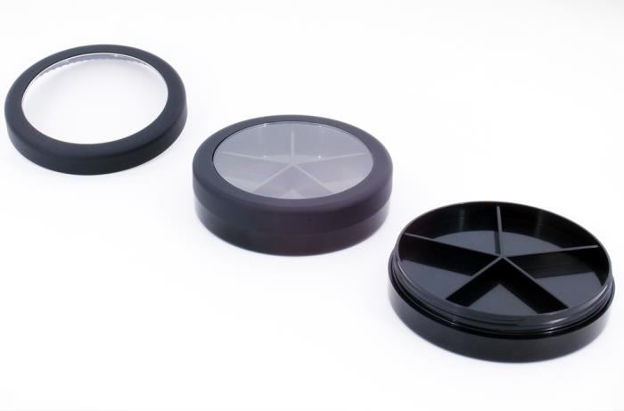 Round makeup jars with clear window