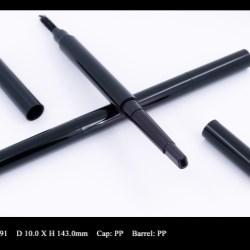 Eyebrow makeup pen with brush applicator