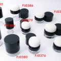 Face make up containers with attached sponge