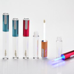 LED lite-up lipgloss packaging with rhinestone on top