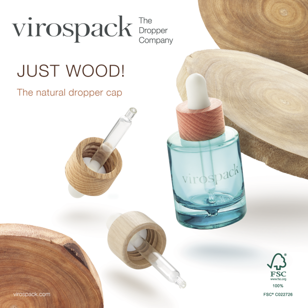 Just Wood! Virospack presents the First 100% Natural Wood Dropper Cap