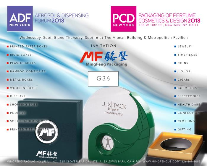 MIngFeng Packaging USA attends ADF & PCD New York 2018