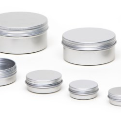 Round aluminium tins with screw lids