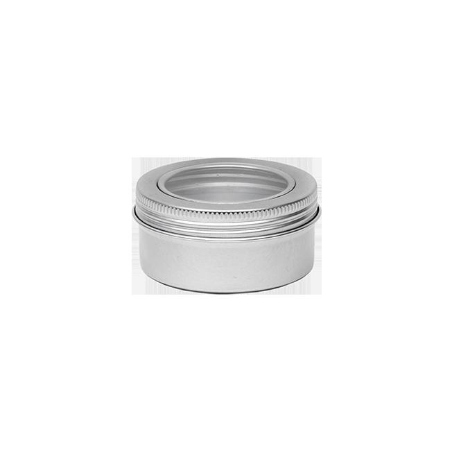 Round Aluminium Tin with Windowed Screw Lids