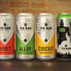 Tin Man Brewing Co. offers four of its core beers in Rexam cans