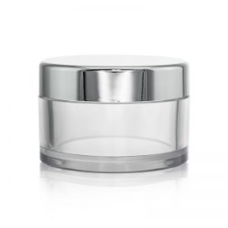 Round Clear PETG Jar with Silver Cap 50g