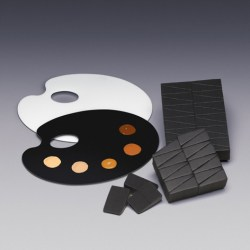Qosmedix adds new artist mixing palettes and black makeup sponges