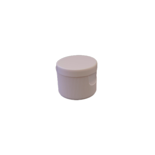 20-410 P/P White Ribbed Flip Top Cap - 697