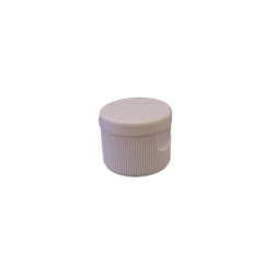 24-410 P/P White Ribbed Flip Top Cap, No Liner - 701
