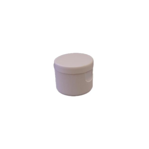 24-410 P/P White Ribbed Flip Top Cap, No Liner - 603