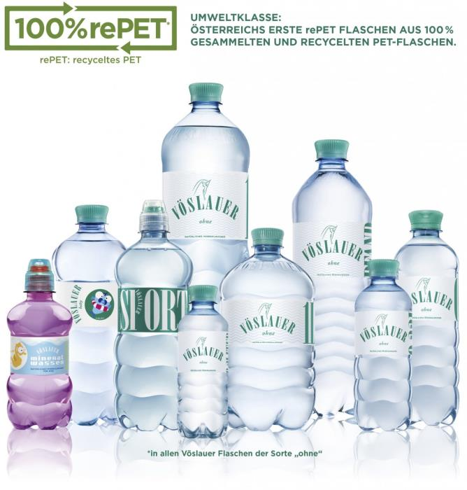 Mineral water bottles can be made entirely of rPET, as demonstrated by Vöslauer