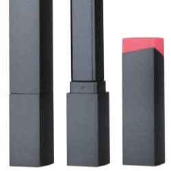 Long, square, plastic lipsticks