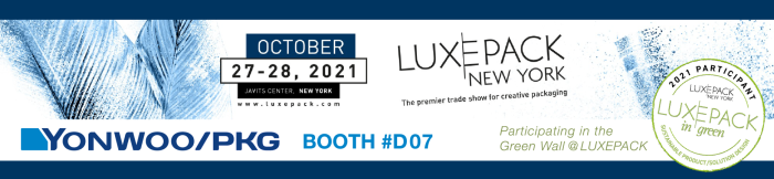 Yonwoo/PKG is bringing its Green Solutions to LUXE PACK NY 2021