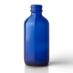 4 oz Glass Boston Round, Round, Cobalt Blue, 24-400