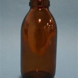 200 ml Glass Cylinder, Round, Amber, 28Tamper Evident finish