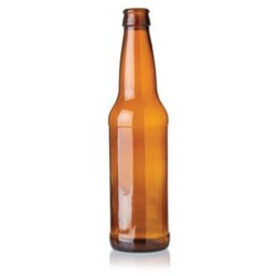 12 oz Glass Long Neck, Round, Amber, 26Crown finish