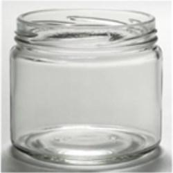12 oz Glass Jar, Round, Flint, 82-2040 Lug finish Squat