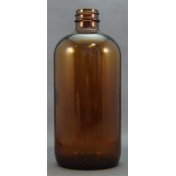16 oz Glass Boston Round, Round, Amber, 28-400