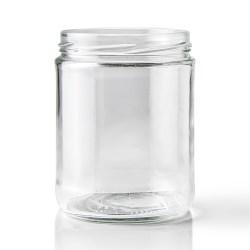 16 oz Glass Jar, Round, Flint, 82-2040