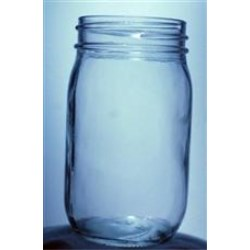 16 oz Glass Jar, Round, Flint, 70-450