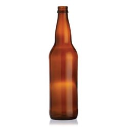 22 oz Glass Long Neck, Round, Amber, 26Crown finish