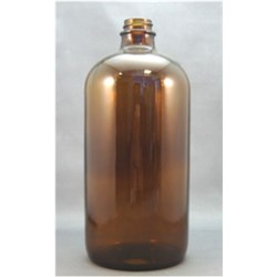 32 oz Glass Boston Round, Round, Amber, 28-400
