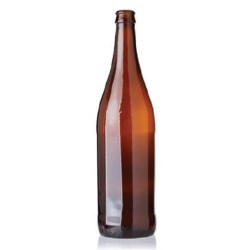 750 ml Glass Long Neck, Round, Amber, Crown finish