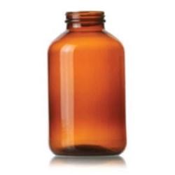 950 cc Glass Jar, Round, Amber, 53-400 Straight Sided