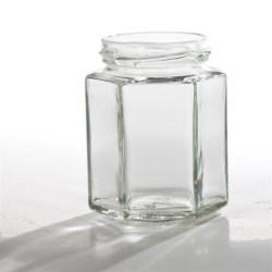 190 ml Glass Jar, Hexagon, Flint, 58-2020