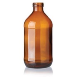 11 oz Glass Cylinder, Round, Amber, 26Crown finish Label Indent