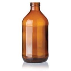 11 oz Glass Cylinder, Round, Amber, 26Crown finish Label Indent