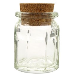 1.2 oz Glass Jar, Octagon, Flint, 27mm CORK finish
