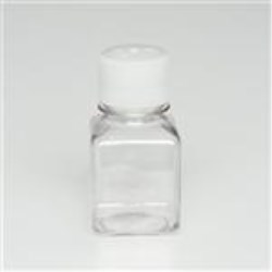 125 ml PET Straight Sided, Square, 38-430, Sterile W/Cap Attached ,