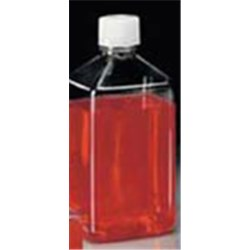 1000 ml PET Straight Sided, Square, 38-430, Sterile W/Cap Attached ,