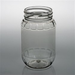9 oz PET Jar, Round, 53-400, Ribbed/Fluted ,