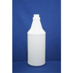 32 oz HDPE Carafe/Decanter, Round, 28-400, Ribbed/Fluted Label Indent ,