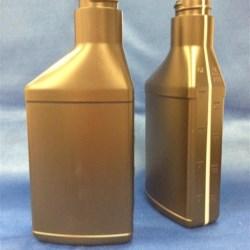 8 oz HDPE Asymmetrical Oblong, 28-400, Offset Neck View Stripe ,