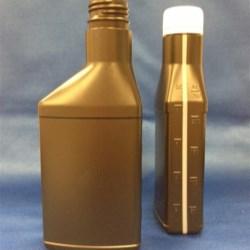 8 oz HDPE Asymmetrical Oblong, 28 Drop-Lok TE, Offset Neck View Stripe ,