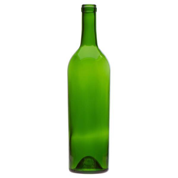 750 ml Claret, Champagne Green, Cork Finish Tall Push-Up, 9974