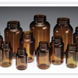 300 cc Glass Packer, Round, Amber, 53-400
