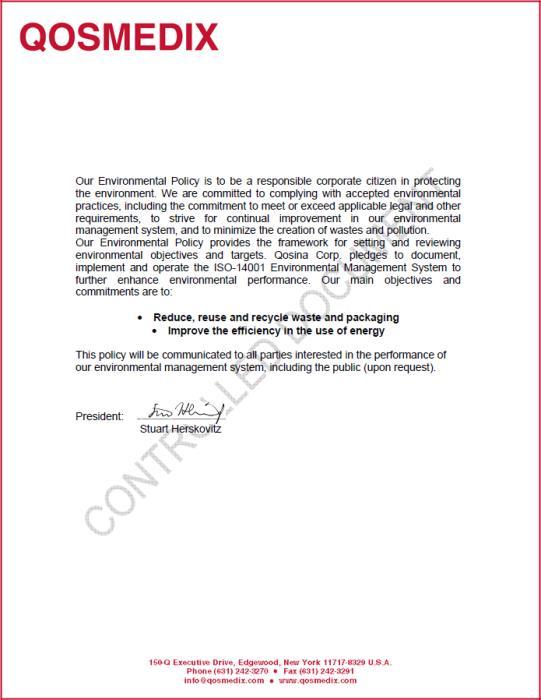 Qosmedix environmental policy