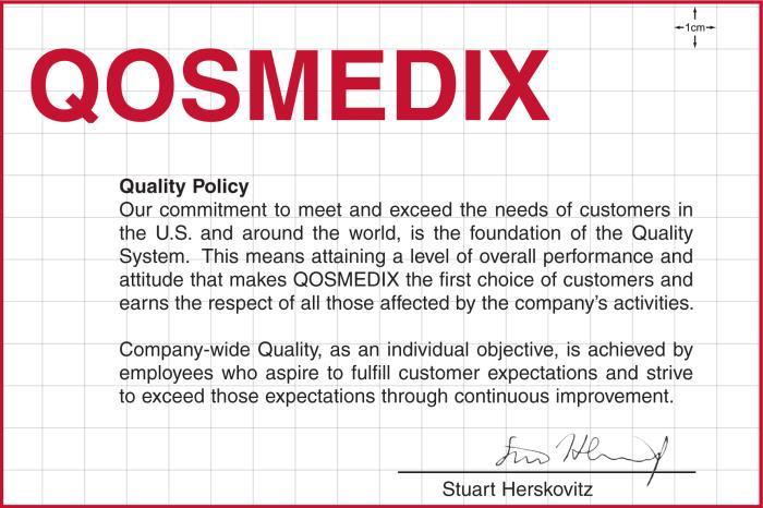 Qosmedix quality policy